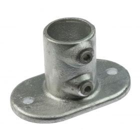 G132 Temperguss Fußplatte für Rohr, hoch (A12), feuerverzinkt